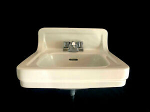 details about vintage 1950 white wall mount lavatory sink bathroom american standard usa made
