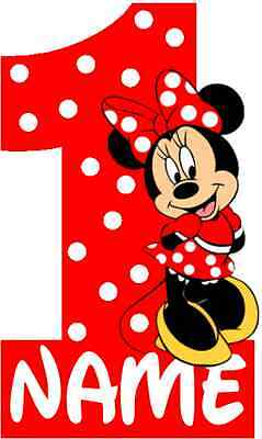 Iron On Transfer Red Minnie Mouse 1st Birthday Girl With Polka Dots 16x10cm Ebay