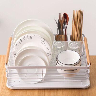 large white dish drainer rack tray utensil cutlery kitchen metal w wood handle ebay
