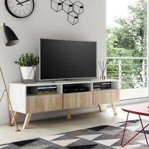 details sur meuble tv meuble hi fi lavello bois 150 cm blanc chene sonoma style scandinave