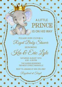 Elephant Prince Baby Shower Invitation