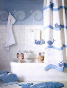 details about new in package pottery barn kids blue whale bath collection shower curtain new