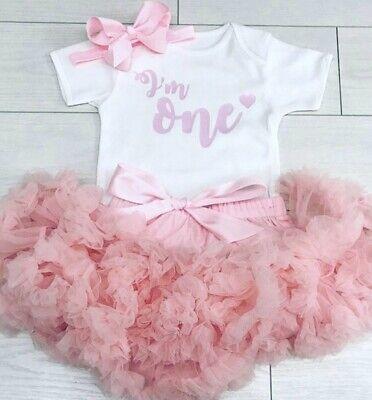 Luxury Girls 1st First Birthday Tutu Skirt Outfit Baby Pink Cake Smash Set One Ebay