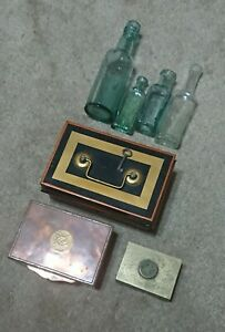 Vintage Chinese Cooper Box + Chinese Brass Box + Cash Box + 4 Antique Bottles
