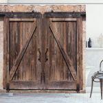 Rustic Shower Curtain Wooden Barn Door Image Print For Bathroom For Sale Online