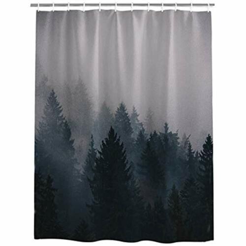 fog pine trees forest waterproof bathroom fabric shower curtain curtain 36 x 72 shower curtains home garden