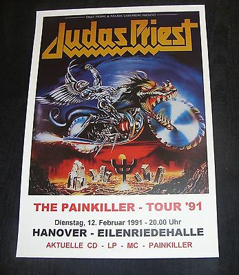 judas priest concert poster painkiller tour 1991 hannover a3 size repro ebay