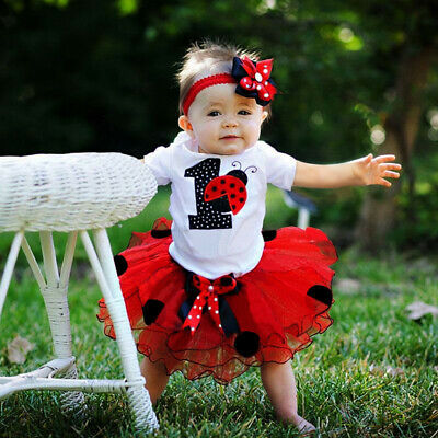 Baby Girl 1st Birthday Romper Outfit Sets Dress Ladybug Tutu Skirt Headband Ebay
