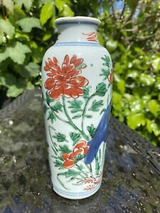A 16/17th century transitional period Chinese B/W famille vert vase