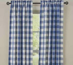 details about china blue check curtains 84 x 72 country white plaid window panels wicklow