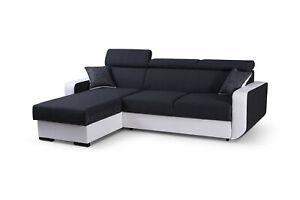 details sur canape d angle convertible lit tissu et simili cuir relax pedro noir et blanc