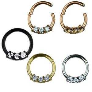 1,2mm Rose Gold Silber Septum Clicker Piercing Kristalle Segment Ring Scharnier