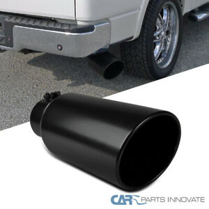 details about black coated rolled edge angle diesel exhaust tip 4 inlet 6 outlet 15 long