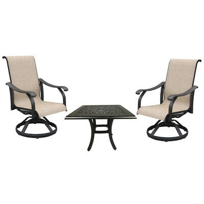 cast aluminum sling rocker patio dining chairs set of 3 with outdoor end table ebay