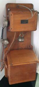 details sur ancien telephone mural bois 1910 boite a sel association ouvriers en instruments