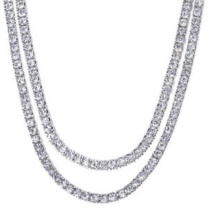 """Men's Iced Out 4 mm CZ 20"""" / 22"""" Double Set Silver Plated ..."""