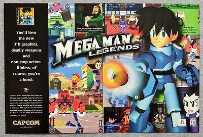 mega man legends ps1 capcom 1998 vintage game print ad poster official rare ebay