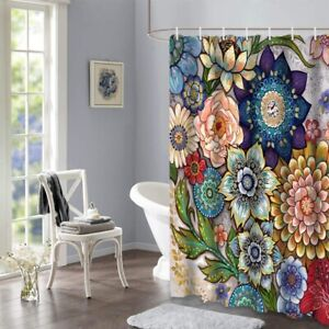 details about boho floral shower curtains for bathroom bright fabric blossom shower curtain us