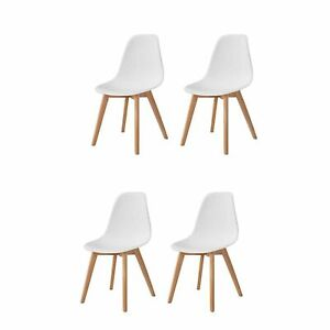 details sur lot de 4 chaises style scandinaves chaise en abs pieds en bois cuisine blanc
