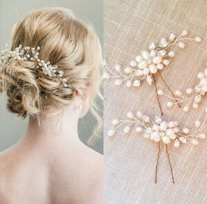 image is loading white pearl crystal flower hair pins clips wedding