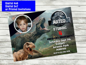 details about jurassic world birthday party invitation personalized custom