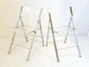 details sur paire de chaises pliantes vintage 1970 en plexiglas acier chrome 70s 70 s