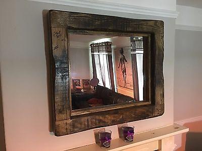 mirror large rustic reclaimed wood mirror bespoke service available dark oak wax ebay