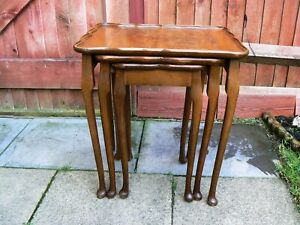 details about unusual vintage nest of tables cum trays with cabriole legs
