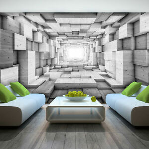 Photo Wallpaper WOODEN 3D EFFECT ABSTRACT TUNNEL Wall Mural  3248VE     Image is loading Photo Wallpaper WOODEN 3D EFFECT ABSTRACT TUNNEL Wall