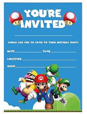 super mario invitations birthday party invites children kids boys girls ebay