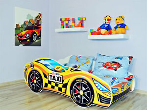 Image Is Loading Racing Car Bed Yellow Childrens With Mattress