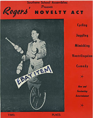 1939 ROGERS ' NOVELTY ACT Unicycle Juggler Ventriloquist Comedy ...