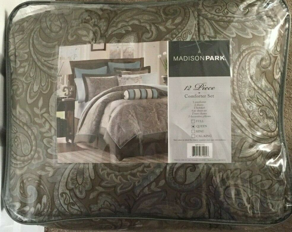queen comforter set 12 piece brown blue paisley print bed sheets pillows shams