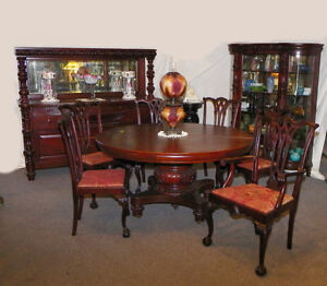 9 Pc Matching Antique Mahogany Dining Room Set Table