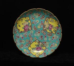 Yongzheng Signed Antique Chinese Famille Rose Dish W/ peony flower