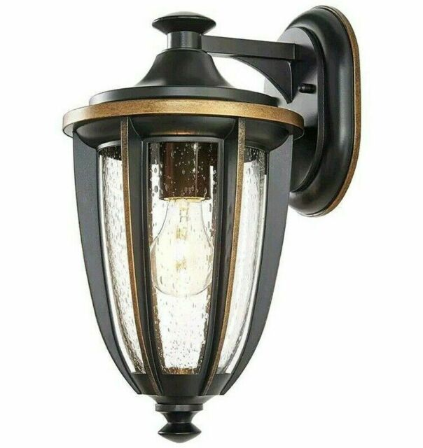 home decorators collection 1 light black gold highlights outdoor 8 in wall