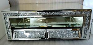 details sur miroir meuble tv stand sparkly silver diamond crush cristal coude tiroirs glitz afficher le titre d origine