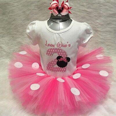Handmade Girls Pink Minnie Mouse Second 2nd Birthday Tutu Outfit Polkadot Ebay
