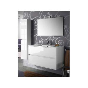 details sur meuble de salle de bain toilette 100 cm suspendu avec evier lavabo vasque blanc