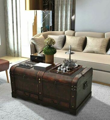 large wood treasure chest vintage coffee table storage trunk pirate box drawers ebay