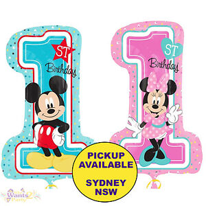 Mickey Or Minnie Mouse 1st Birthday Party Supplies 71cm Foil Balloon Decorations Ebay