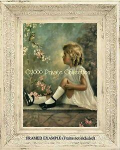 LITTLE GIRL GARDEN WALL BIRD SINGING APPLE BLOSSOMS Antique Vintage ART PRINT EBay