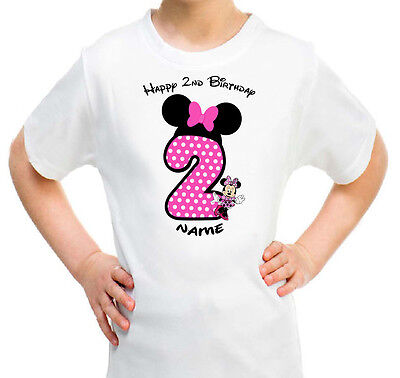 Minnie Mouse Personalised T Shirt Girls Kids Happy Birthday 1st 2nd 3rd 4th 5th Ebay