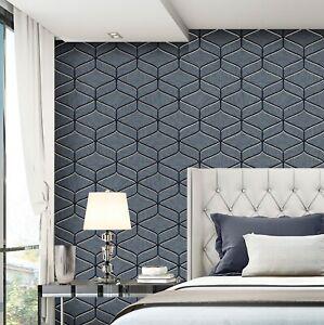 Feature Wall Wallpaper Italian Heavy Duty Geometric Navy Blue Grey Silver Stone Ebay