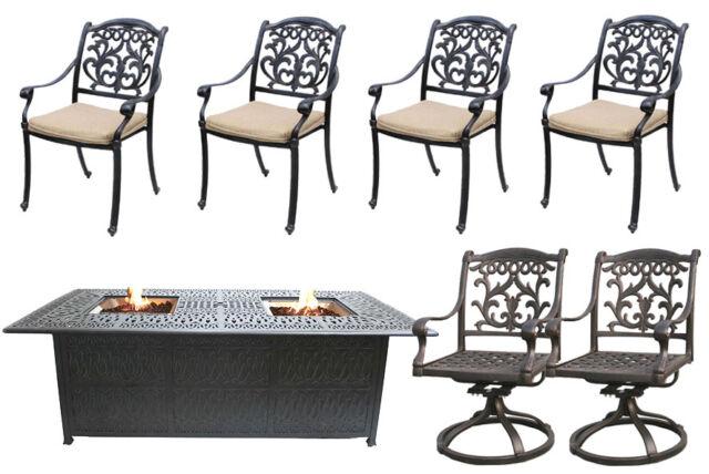 outdoor patio furniture set 7 piece propane fire pit table firepit cast aluminum