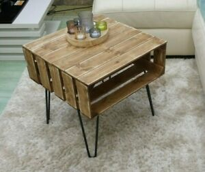 details about coffee table rustic chunky with solid wood metal hairpin legs apple crates