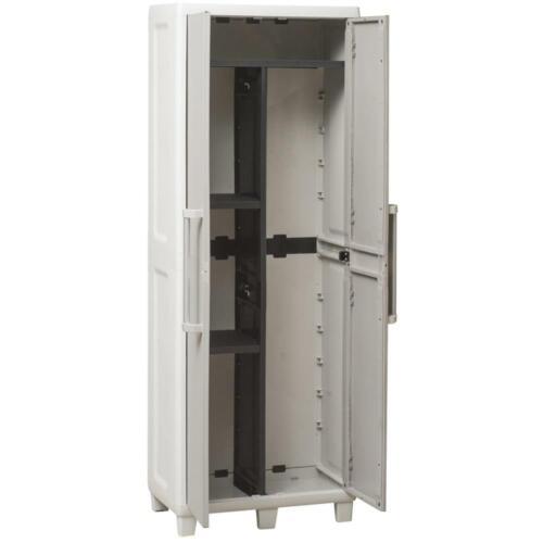 garten terrasse mobile armoire porte balai resine plastique haut pour l exterieur taupe etagere jeoz com co