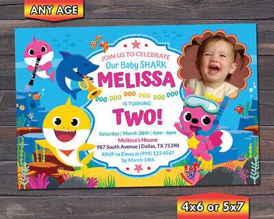 baby shark birthday invitation baby shark birthday party invitation ebay