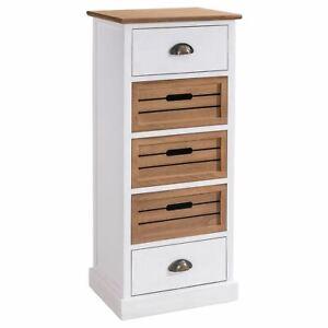 details sur chiffonnier commode avec 2 tiroirs et 3 caisses de rangement en bois blanc brun