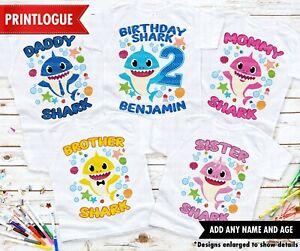 Shark Birthday Shirt Baby Shark Family Shirt Baby Shark Family Matching Shirts Ebay